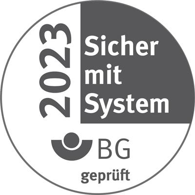 """Berufsgenossenschaft - Gütesiegel """"Sicher mit System"""" 2023"""