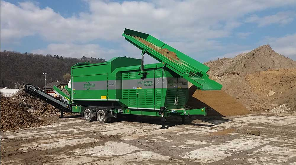 Mobile double trommel screening plant for recycling
